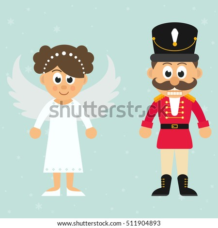 cartoon christmas angel and