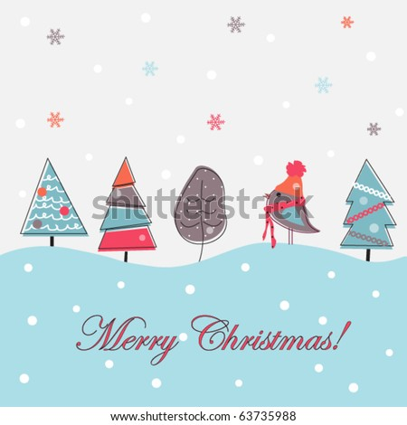 Cartoon Christmas background, doodle trees - stock vector