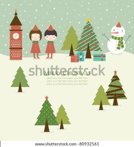 Cartoon Christmas Background in Retro Style.