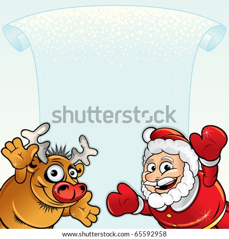 Cartoon Christmas background with Funny Santa, Reindeer and space for your greeting text