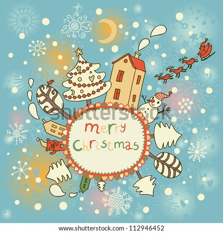 cartoon christmas card holiday