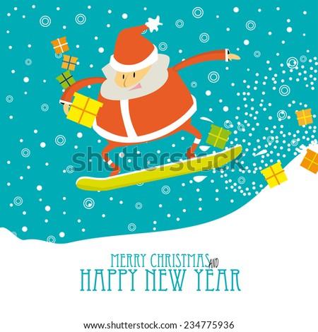 Cartoon Christmas card  with Santa snowboarding