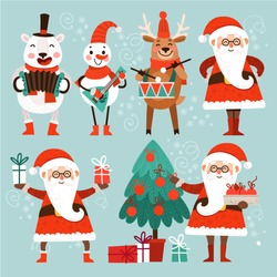 Cartoon Christmas characters dance and sing. Set of stylish cute characters for Christmas. Santa Claus, a polar bear, snowman and reindeer. Santa Claus with gifts and a Christmas fir.