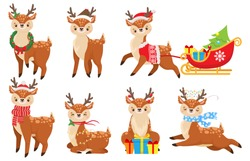 Cartoon christmas deer. Cute fawn in winter scarf, xmas reindeer child and funny deers. 2020 New Year mascot, Santa magic deer character with gifts. Isolated vector illustration icons set