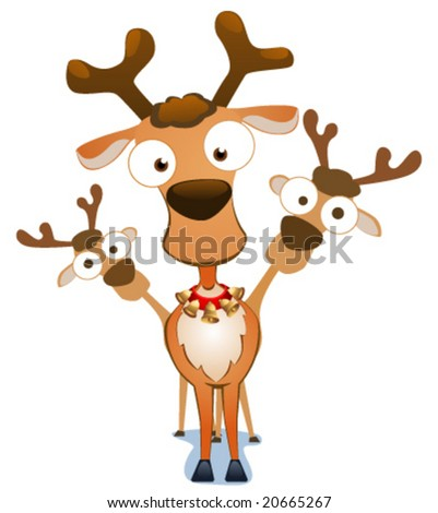 Cartoon Christmas deers. Vector illustration.