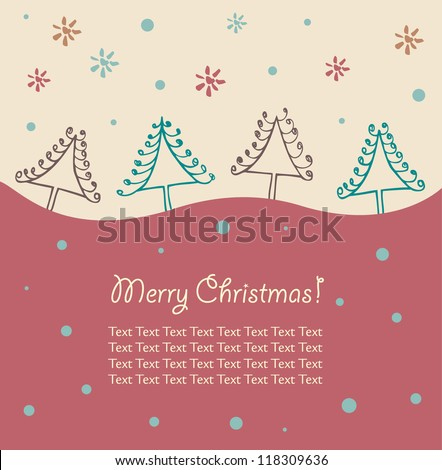 Cartoon Christmas design. Christmas trees. Xmas card with decorative spruces. Abstract holiday elements