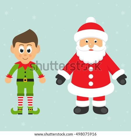 cartoon christmas elf and santa
