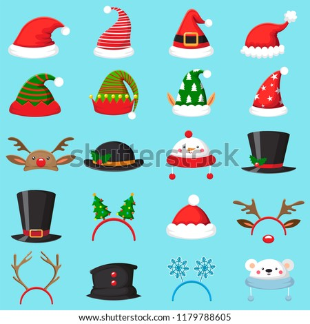 Cartoon christmas hat. Xmas different hats, winter masquerade masks of elf, Santa and snowflake. Elves ears, deer horns and snowman mask new year holiday vector isolated sign set