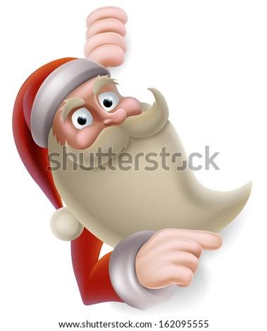 stock-vector-cartoon-christmas-illustration-of-santa-claus-pointing-at-a-banner