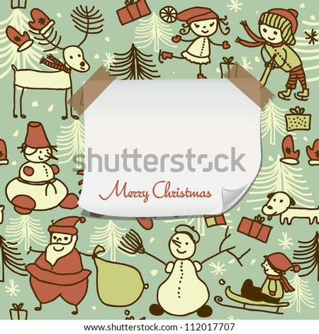 cartoon Christmas pattern with blank paper for your greeting