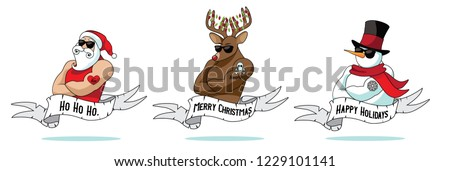 Cartoon Christmas Santa Claus, reindeer and snowman muscle men collection with holiday greeting ribbon and tattoos. Santa Claus Christmas logo idea. Eps10 vector illustration.