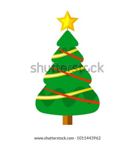 Cartoon Christmas Tree Ribbon Decorated Vector Graphic Illustration Sign Symbol Design #1011443962