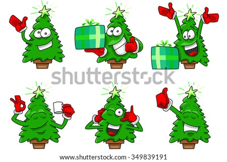 Cartoon Christmas Tree Set 2 Happy Expressions In Vectors