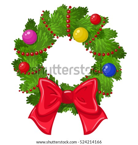 Cartoon Christmas wreath on a white background. Vector.