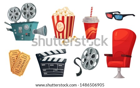 Cartoon cinema elements. Movie theater popcorn, filming cinema clapperboard and retro film camera. Cinema chair, 3d glass, drink and movies premiere ticket cinematography vector illustration set