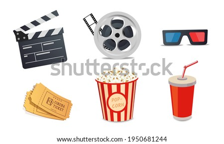 Cartoon cinema elements. Movie theater popcorn, filming cinema clapperboard. 3d glass, drink and movies premiere ticket cinematography vector illustration set eps 10