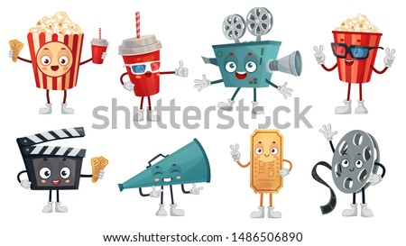 Cartoon cinema mascot. Popcorn in 3D glasses, funny movie film camera and cinemas tickets characters. Megaphone, popcorn and bobbin cinematography mascots. Isolated vector illustration icons set