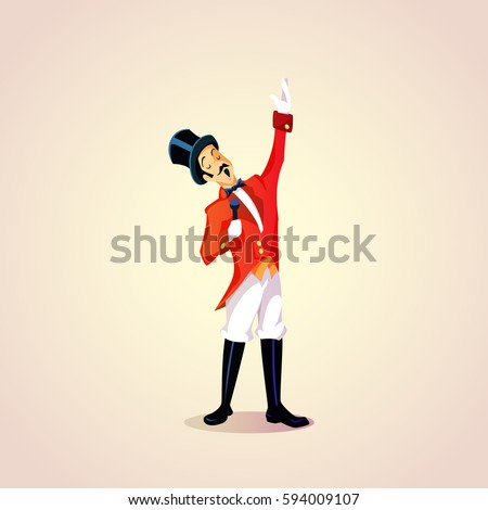 Cartoon circus entertainer with a microphone announce. Vector illustration.