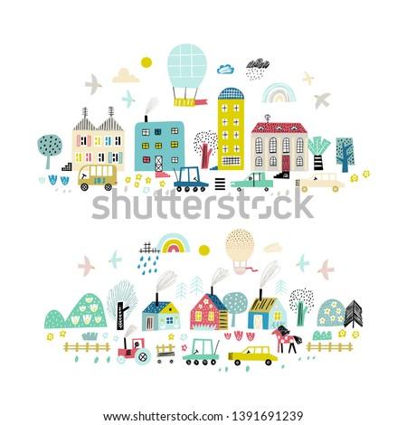 cartoon city background cute