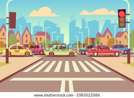 Cartoon city crossroads with cars in traffic jam, sidewalk, crosswalk and urban landscape vector illustration. Road with car on intersection way