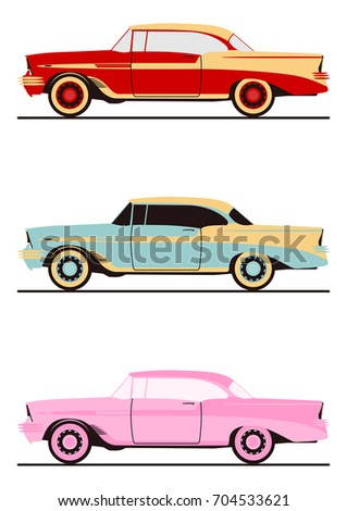 cartoon classic american coupe. ...