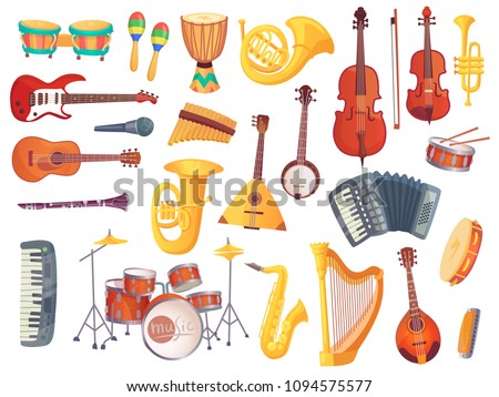 Cartoon classical jazz musical electric acoustic instruments, guitars, bongo drums, cello, saxophone, microphone, drum kit isolated. Music group equipment instrument vector set collection