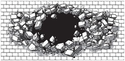 Cartoon clip art illustration of a hole in a wide brick or cinder block wall breaking or exploding outward. Ideal as a customizable background. Vector file is layered.