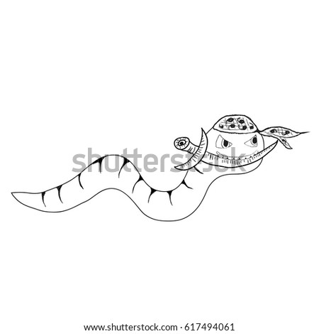 Cartoon clip-art ninja worm with dagger, isolated vector (Eps 10), hand drawn on a white background