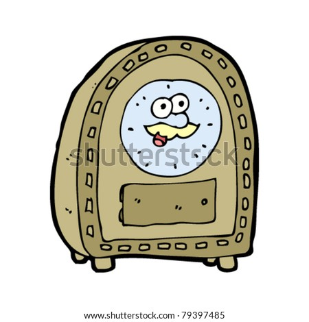 cartoon clock with old face - stock vector