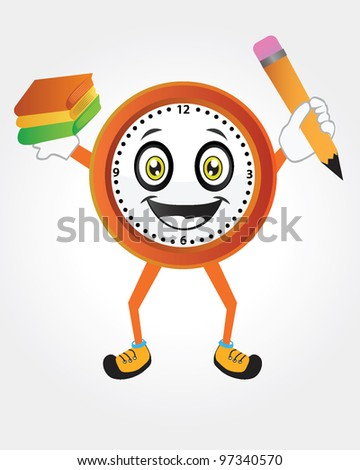 Cartoon clock with school supplies