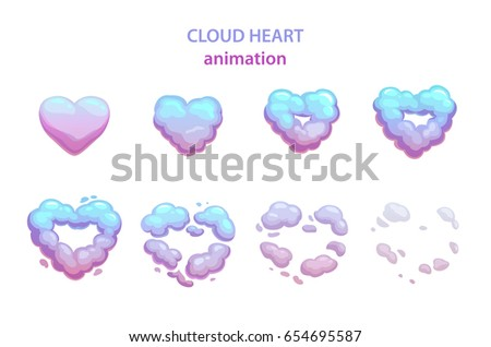 cartoon cloud heart explosion
