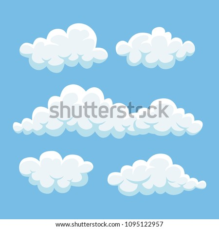 Cartoon cloud set isolated on blue background. White fluffy clouds in sky, heaven, atmosphere. Cloudy summer weather concept. Vector flat design