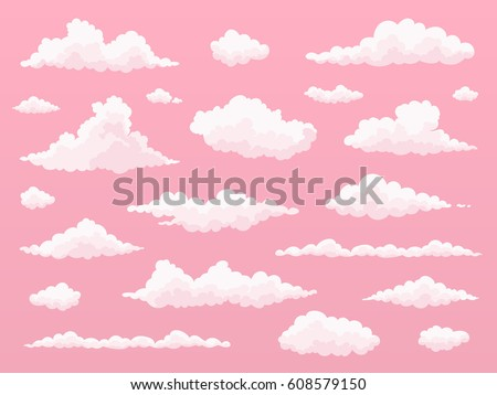 cartoon cloud set  pink clouds