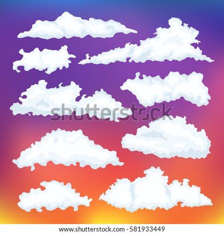 cartoon cloud vector set
