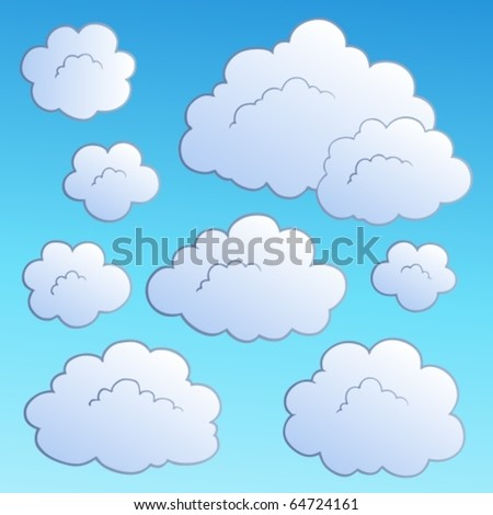 Cartoon clouds collection 2 - vector illustration.