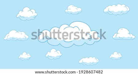 Cartoon clouds isolated on blue sky panorama vector collection. Cloudscape in blue sky, white illustration cloud