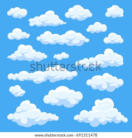 cartoon clouds isolated on blue