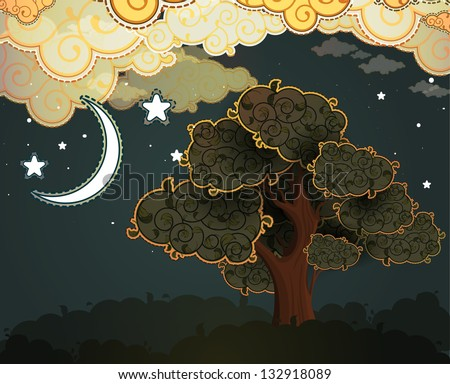 cartoon clouds  moon and tree
