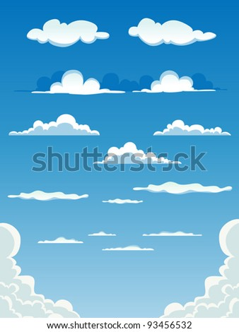 Cartoon Clouds Set/ Illustration of a collection of various vector cartoon clouds on a blue sky background