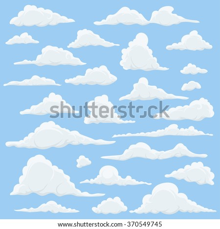 Cartoon Clouds Set On Blue Sky Background. Set of funny cartoon clouds, smoke patterns and fog icons, for filling your sky scenes or ui games backgrounds. Vector