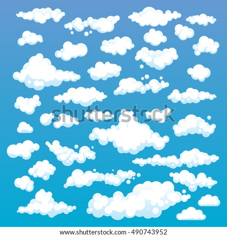 Cartoon Clouds Set On Blue Sky Background. Set of funny cartoon clouds, smoke patterns and fog icons, for filling your sky scenes or ui games backgrounds. Vector art