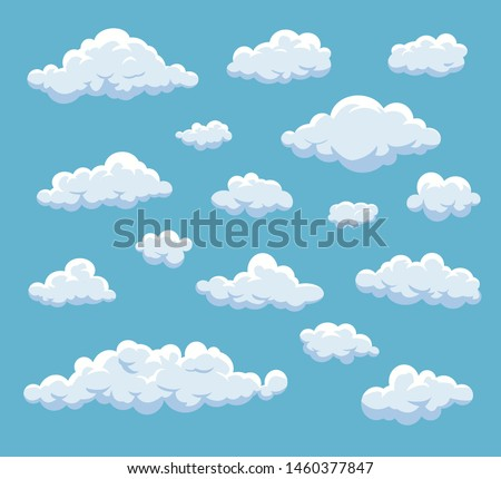 Cartoon Clouds Set. Vector cloud  isolated on blue sky. Collection of clouds for web site,poster,placard and wallpaper.