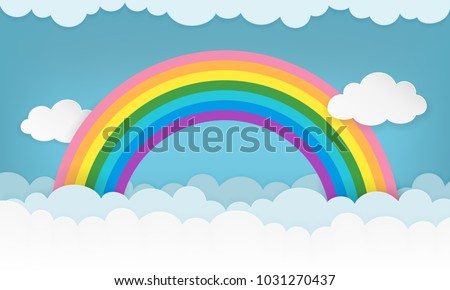 Cartoon cloudscape background with paper clouds and rainbow. Cloudy landscape wallpaper. Clean and minimal scenery background for children's bedroom, baby nursery, baby room decor. Vector Illustration