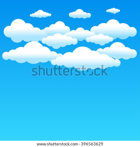 Cartoon cloudy background on blue sky. Simple gradient clouds and place for text on sky background
