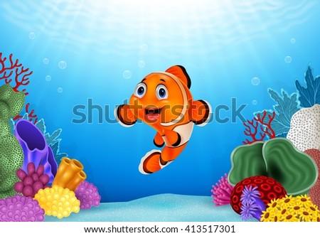 Cartoon Clown Fish with beautiful underwater world #413517301