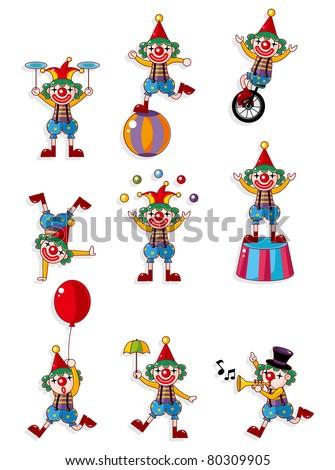 cartoon clown icon - stock vector