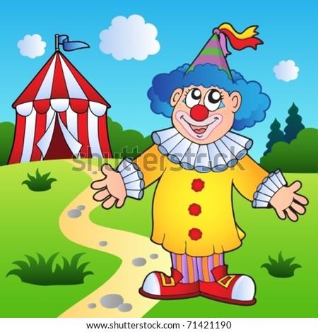 Cartoon clown with circus tent - vector illustration. - stock vector