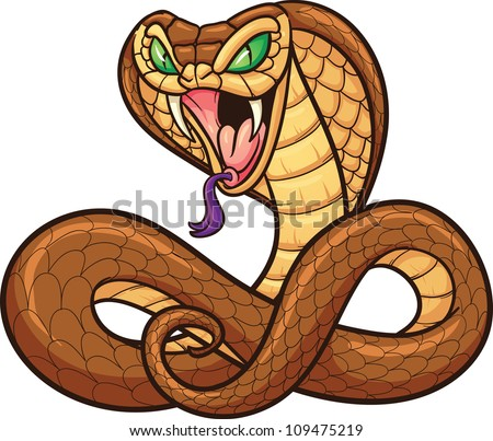 Cartoon cobra. Vector illustration with simple gradients. All in a single layer.