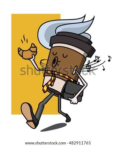 cartoon coffee cup businessman