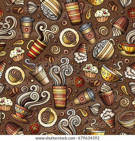 Cartoon coffee shop, cafe, tea, sweets seamless pattern. Lots of symbols, objects and elements. Perfect funny vector background.
